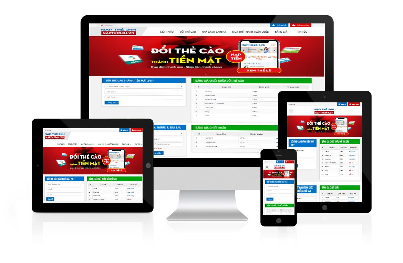 Thiết kế web Đổi Thẻ Cào Thành Tiền Mặt Napthe24h