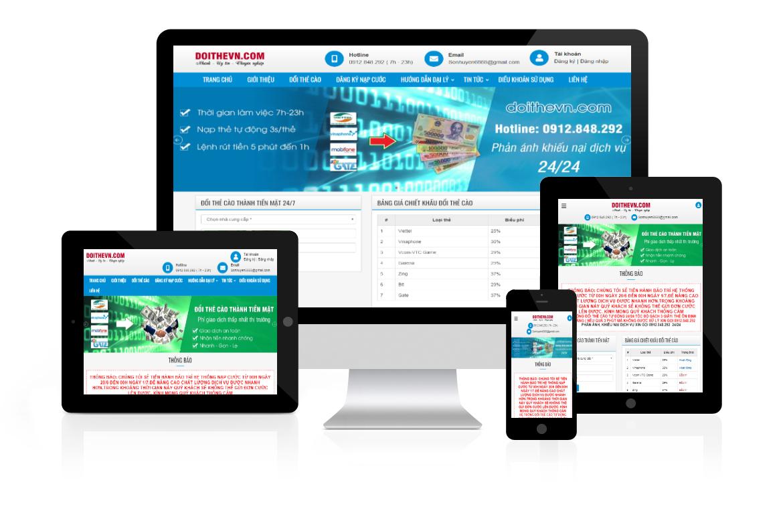 Thiết kế web Đổi Thẻ Cào doithevn
