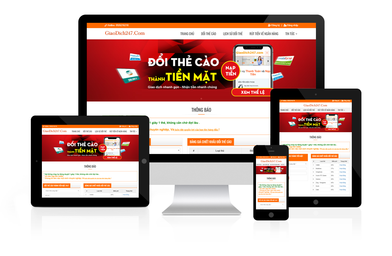 Thiết kế web Đổi Thẻ Cào Thành Tiền Mặt GiaoDich247
