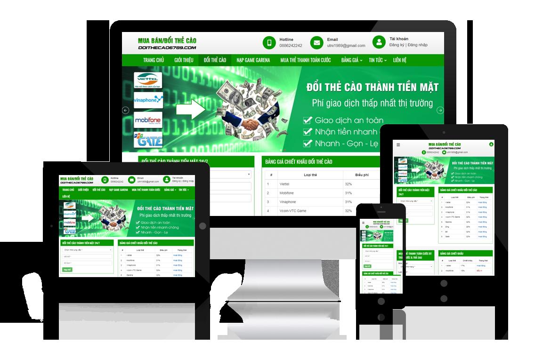 Thiết kế web Mua bán Đổi Thẻ Cào