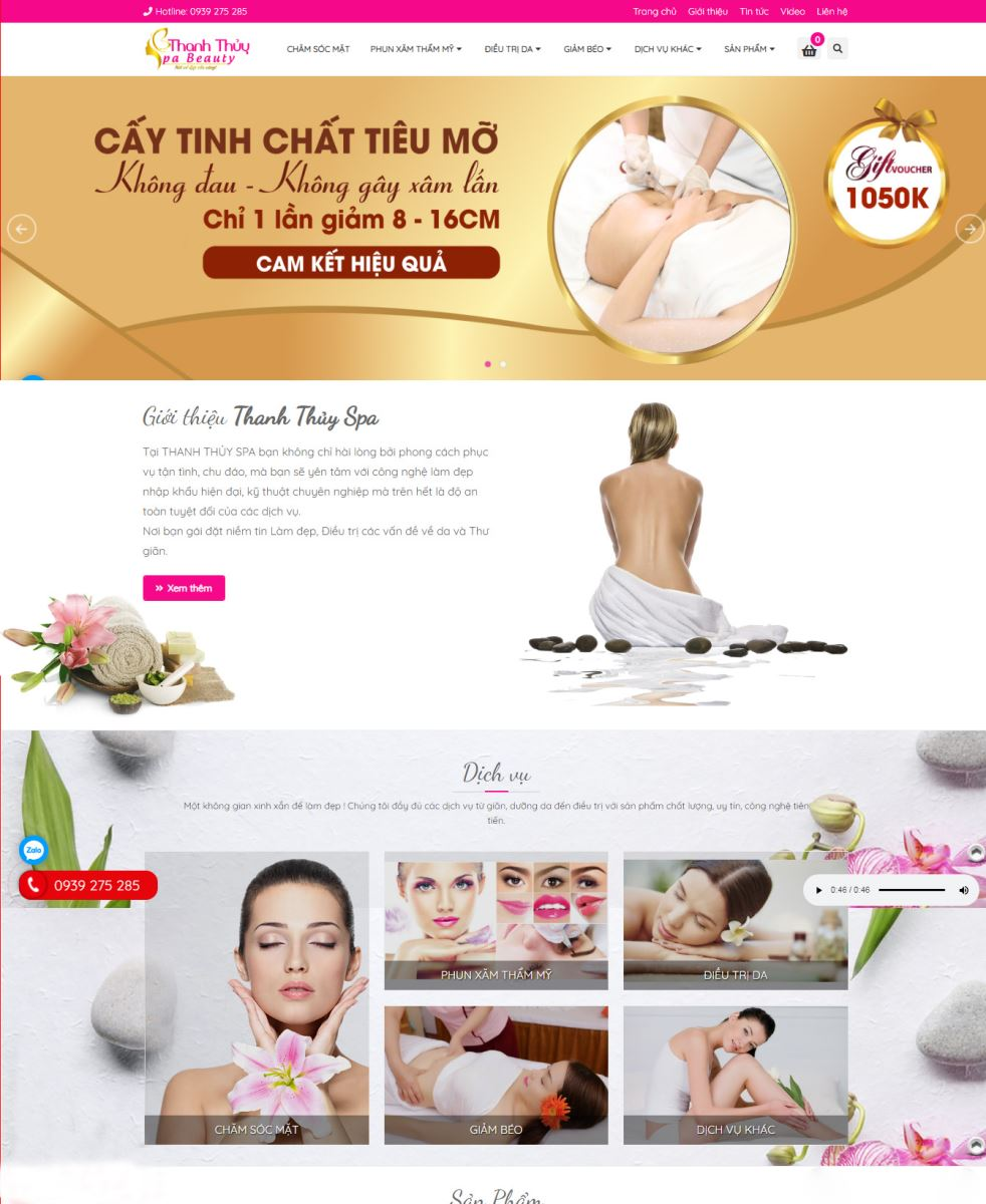 Thiết kế website Thanh Thủy Spa