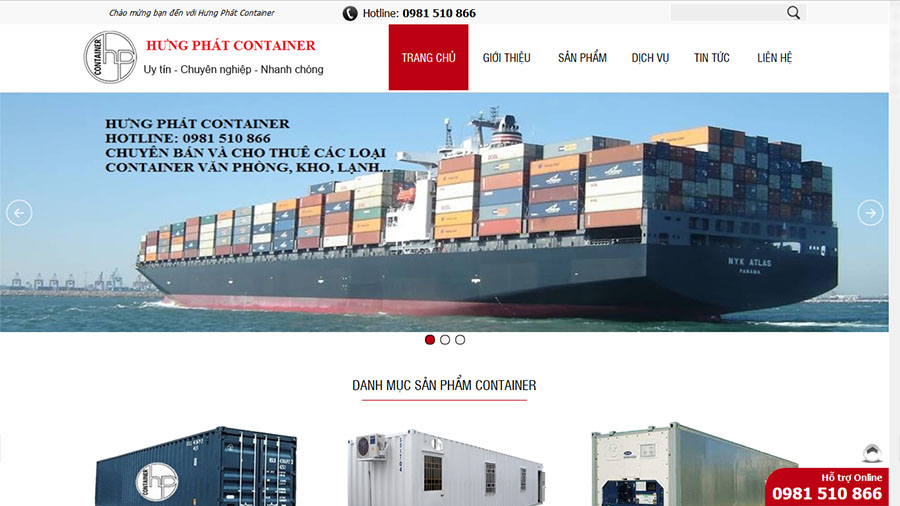 Thiết kế website Công ty CP Hưng Phát Container